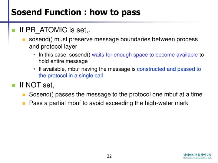 Sosend Function : how to pass