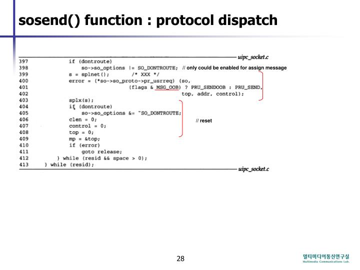 sosend() function : protocol dispatch