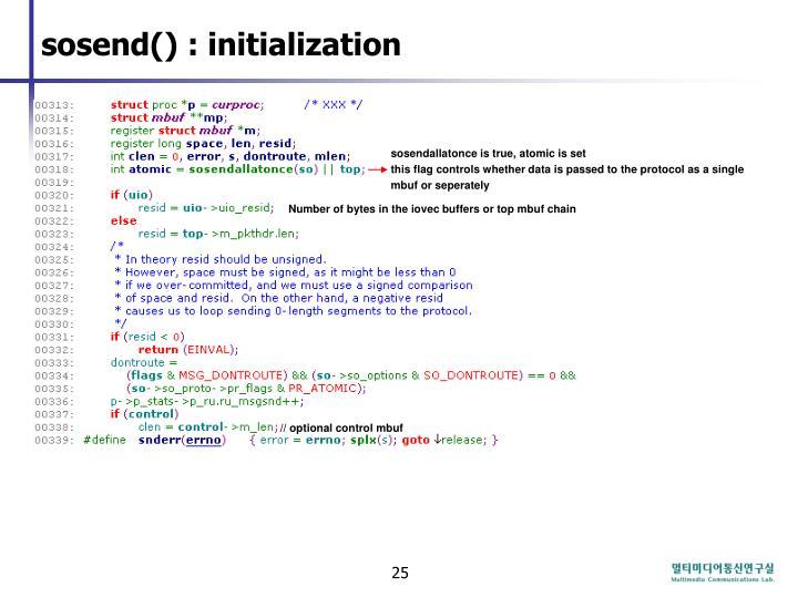 sosend() : initialization