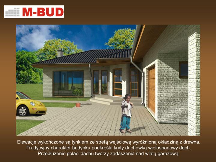 Elewacje wykończone są tynkiem ze strefą wejściową wyróżnioną okładziną z drewna. Tradycyjny charakter budynku podkreśla kryty dachówką wielospadowy dach.