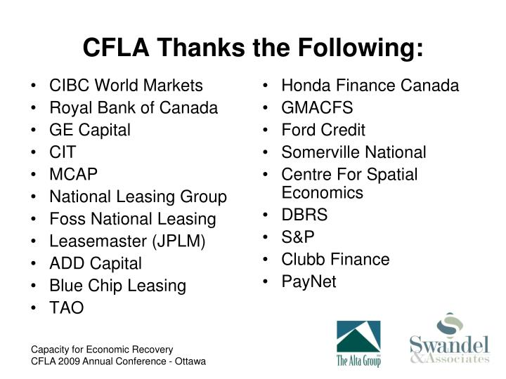 Cfla thanks the following