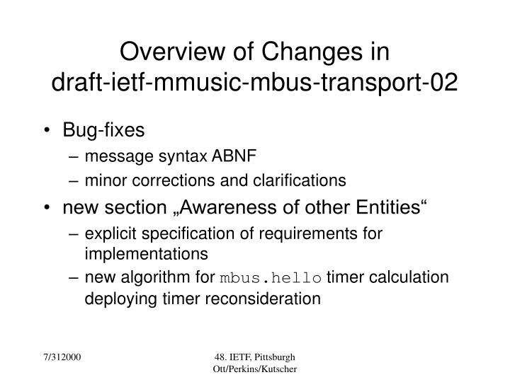 Overview of Changes in