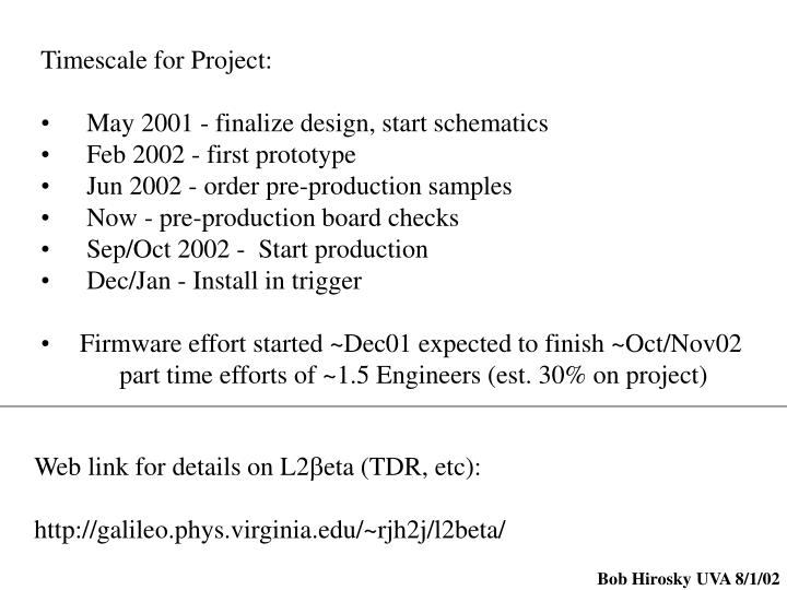 Timescale for Project: