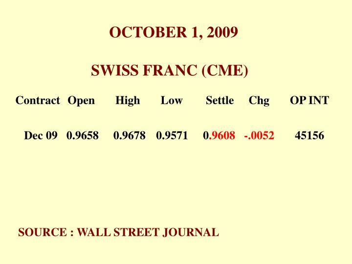 OCTOBER 1, 2009