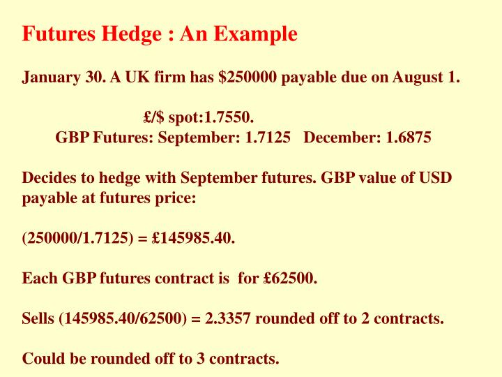 Futures Hedge : An Example