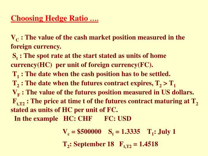 Choosing Hedge Ratio