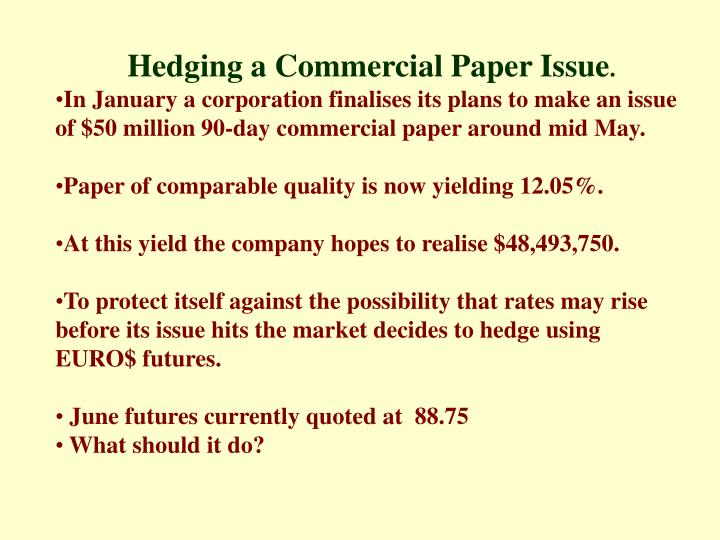 Hedging a Commercial Paper Issue