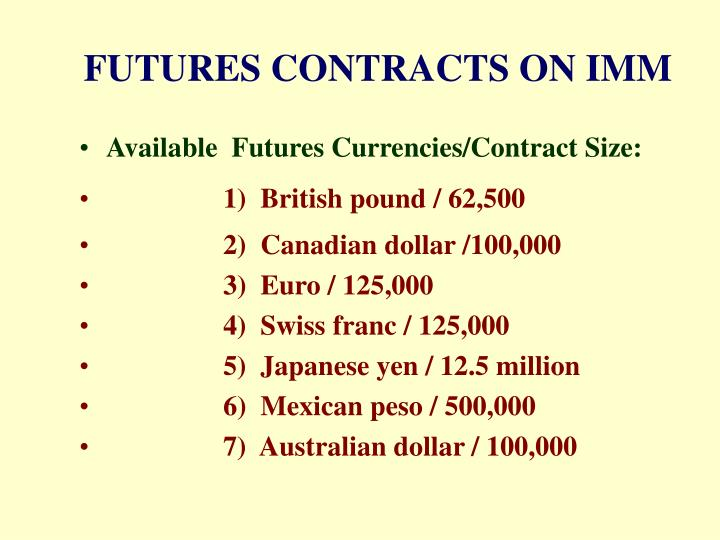 FUTURES CONTRACTS ON IMM