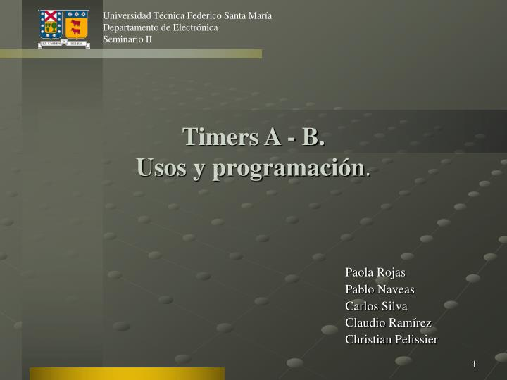Timers A - B.