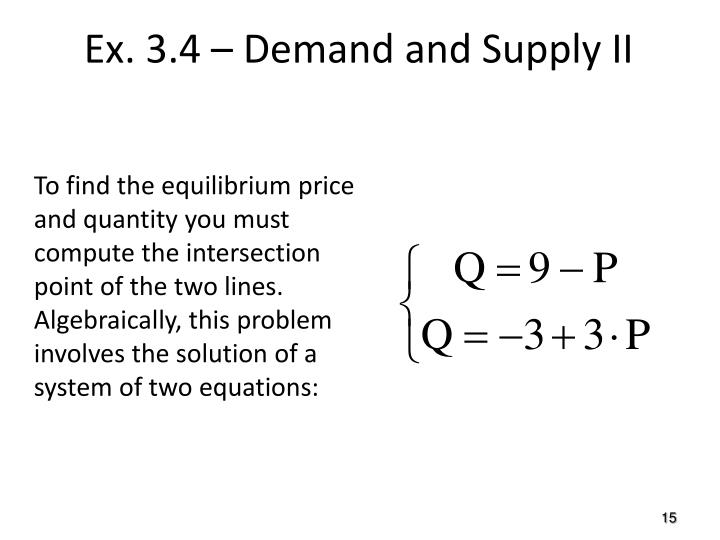 To find the equilibrium price and quantity you must compute the intersection point of the two lines. Algebraically, this problem involves the solution of a system of two equations: