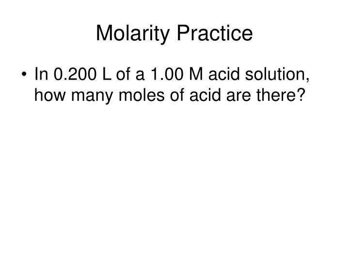 Molarity Practice