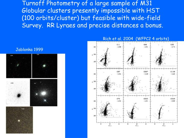 Turnoff Photometry of a large sample of M31