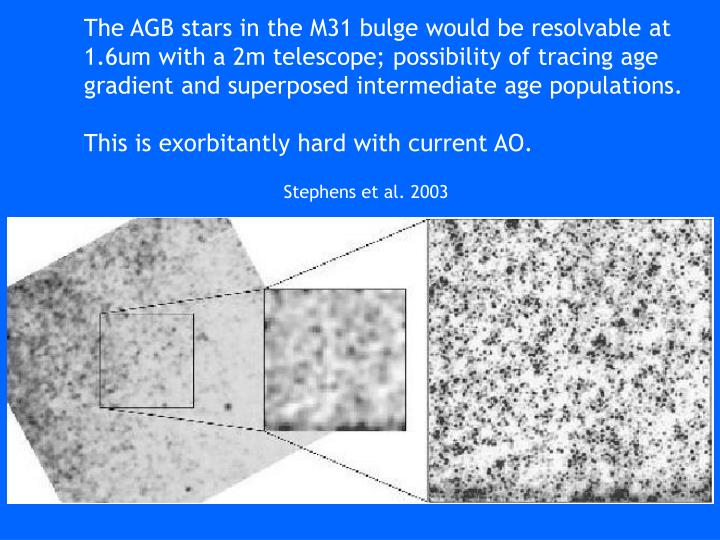 The AGB stars in the M31 bulge would be resolvable at  1.6um with a 2m telescope; possibility of tracing age gradient and superposed intermediate age populations.