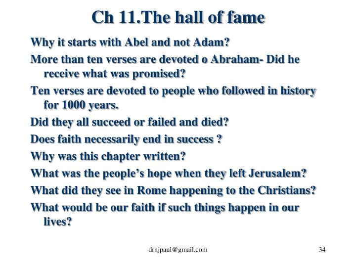 Ch 11.The hall of fame
