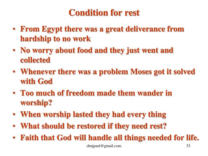 Condition for rest
