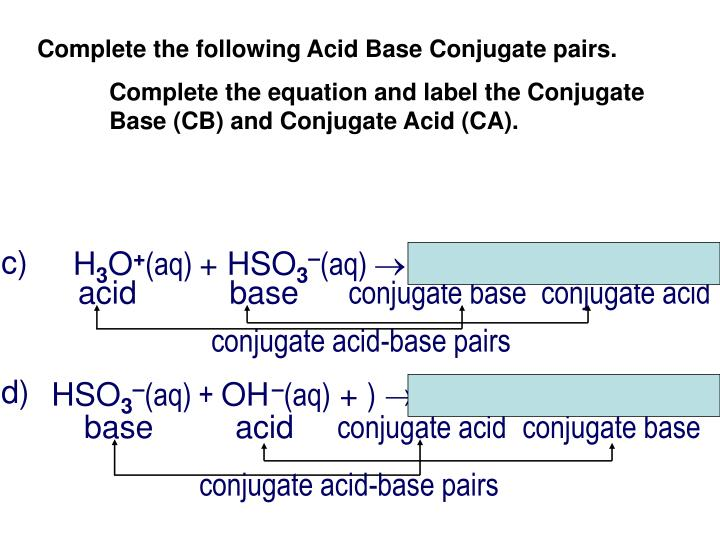 Complete the following Acid Base Conjugate pairs.