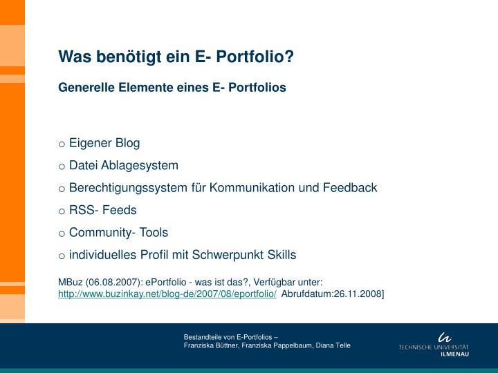 Was benötigt ein E- Portfolio?
