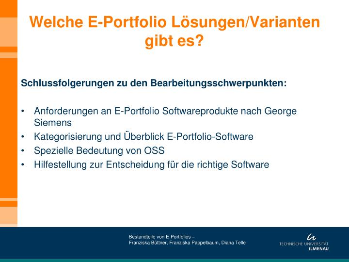 Welche E-Portfolio Lösungen/Varianten gibt es?
