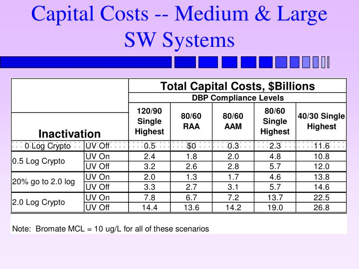 Capital Costs -- Medium & Large SW Systems