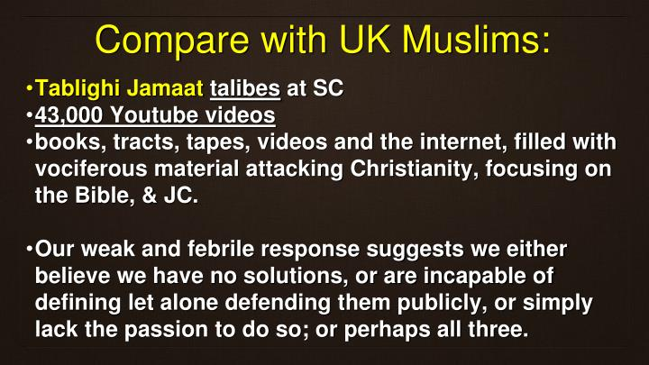 Compare with UK Muslims: