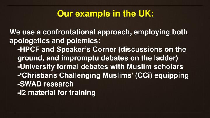 Our example in the UK: