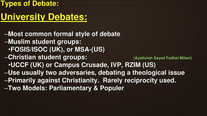 Types of Debate:
