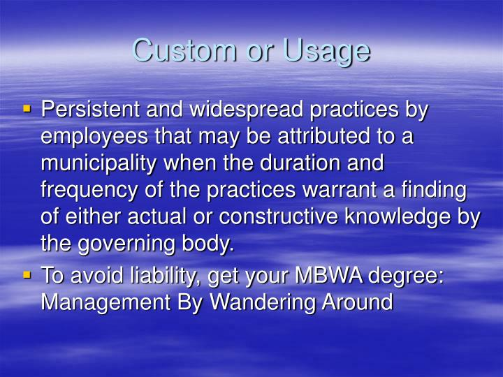 Custom or Usage