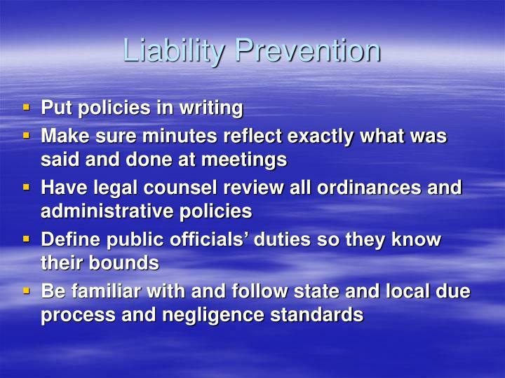 Liability Prevention