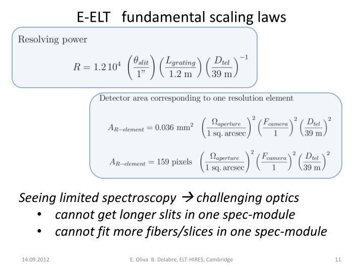 E-ELT   fundamental scaling laws