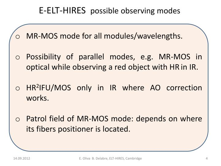 MR-MOS mode for all modules/wavelengths.
