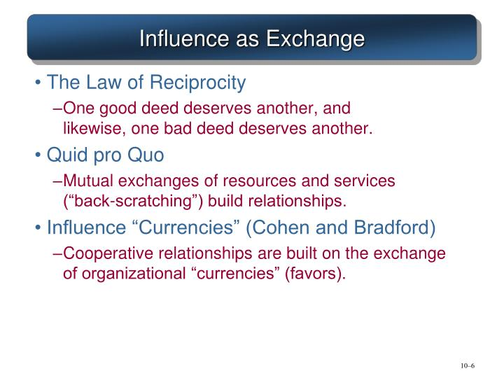 Influence as Exchange