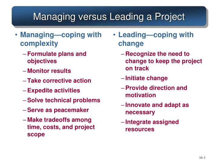 Managing versus leading a project