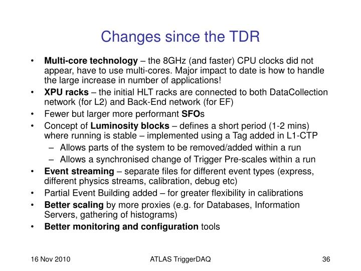 Changes since the TDR