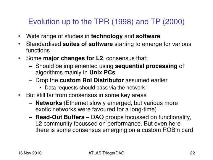 Evolution up to the TPR (1998) and TP (2000)