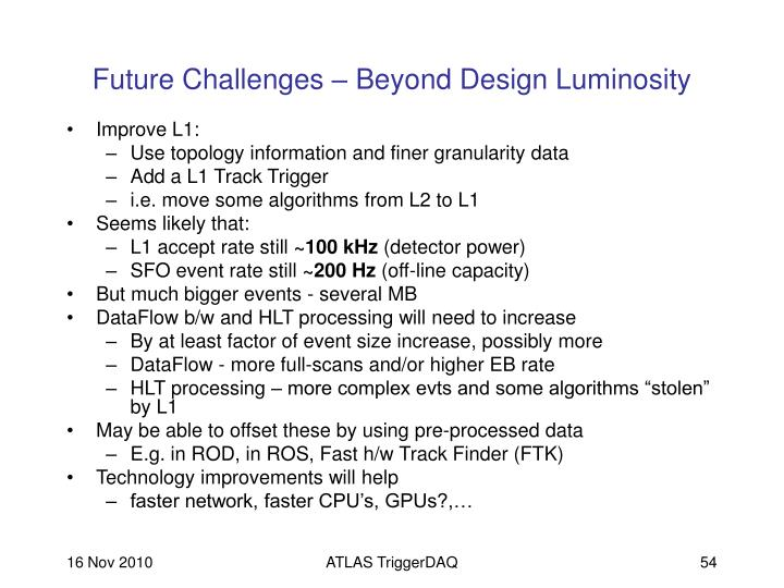Future Challenges – Beyond Design Luminosity