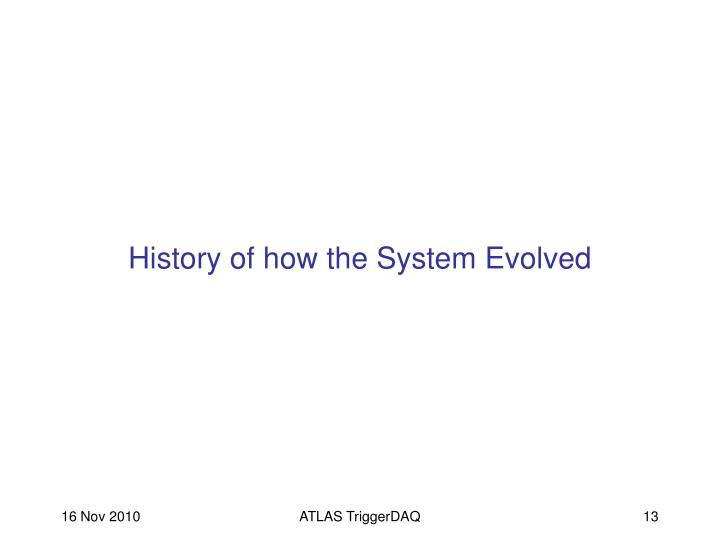 History of how the System Evolved