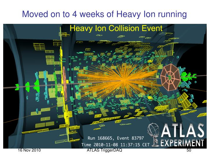 Moved on to 4 weeks of Heavy Ion running