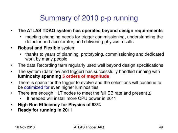 Summary of 2010 p-p running