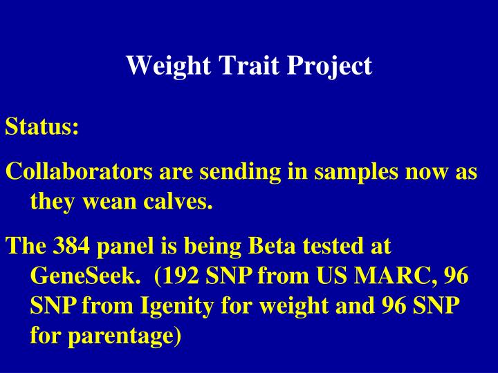Weight Trait Project