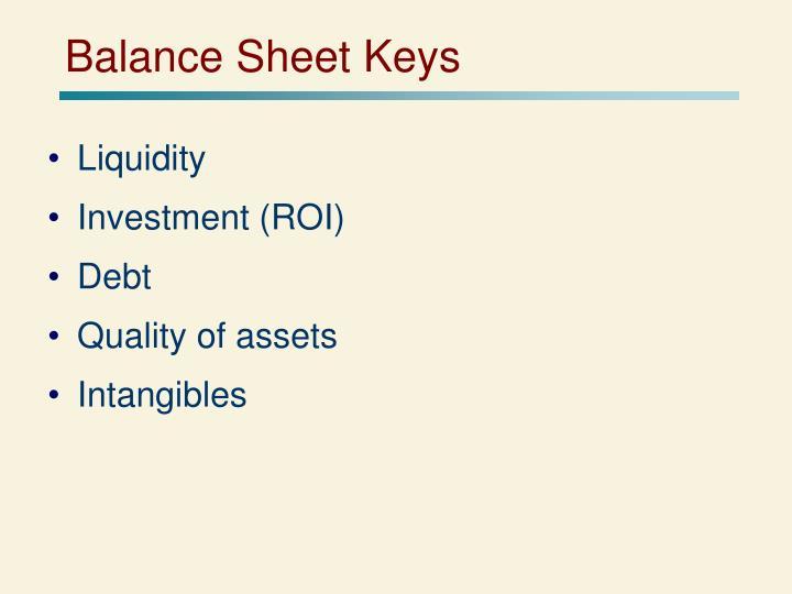 Balance Sheet Keys