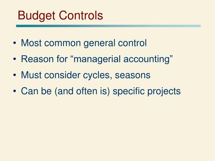Budget Controls
