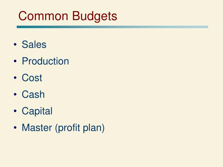 Common Budgets
