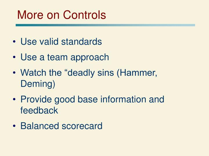 More on Controls