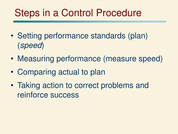 Steps in a Control Procedure