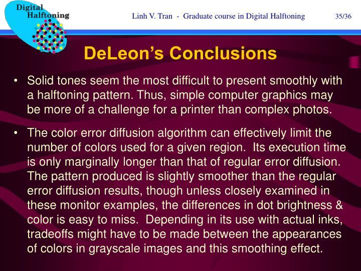DeLeon's Conclusions