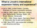 what is lincoln s international expansion history and experience