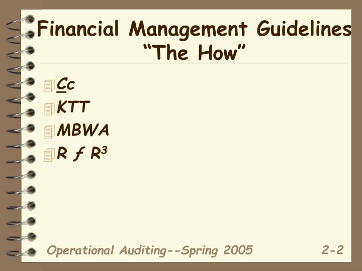 """Financial Management Guidelines """"The How"""""""