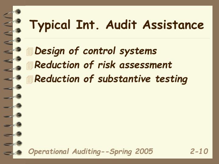 Typical Int. Audit Assistance