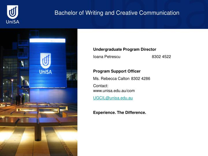 Bachelor of Writing and Creative Communication