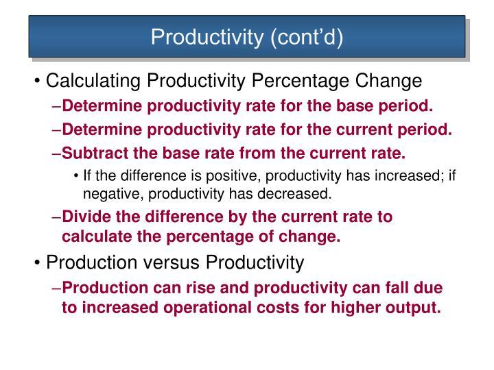Productivity (cont'd)
